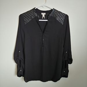 Dynamite Sheer Black Blouse with Faux Leather, S